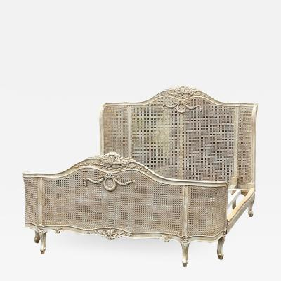 Antique French Louis XV Style Double Cane Queen Bed Bedframe W Gustavian Finish