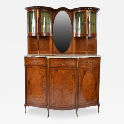 Antique French Louis XVI Louis XV Mahogany Marble Top Display Cabinet