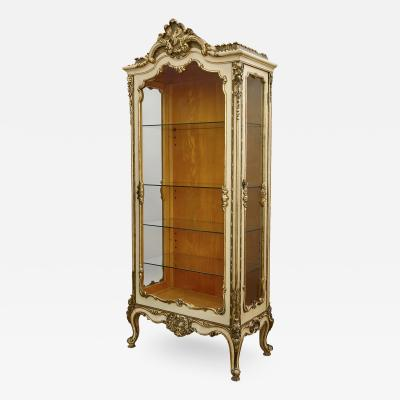 Antique French Neoclassical Style Gilt and Painted Wood Cabinet