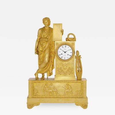 Antique French Neoclassical style ormolu mantel clock