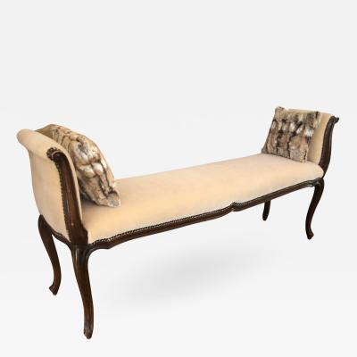 Antique French Provincial Carved Mahogany Mohair Bench
