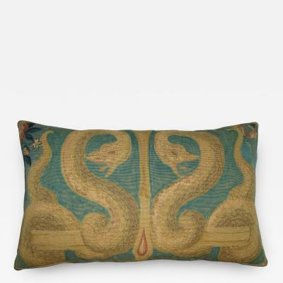 Antique French Tapestry Pillow with Snakes Design