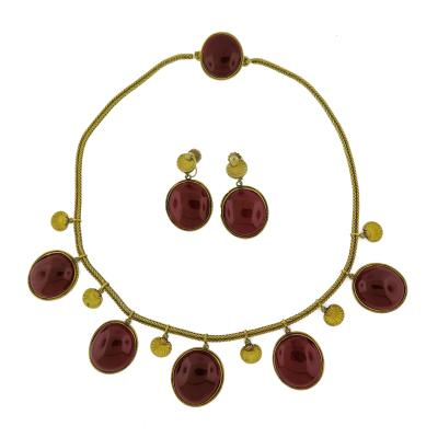 Antique Garnet Gold Necklace and Earrings Set