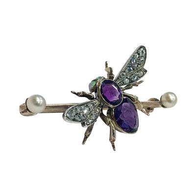 Antique Gem Gold Fly Bee Brooch English C 1900 Suffragette