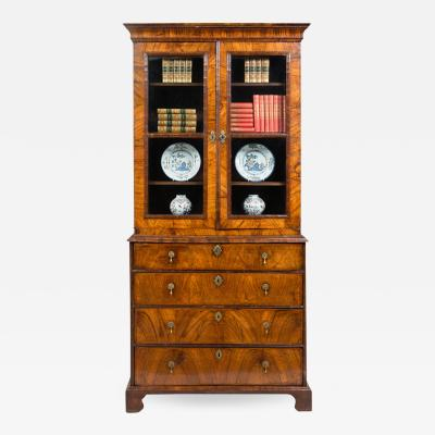 Antique George I Walnut Secretaire Bookcase
