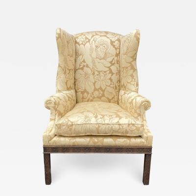 Antique George III Carved Mahogany Wingback Chair W Scalamandre Fabric