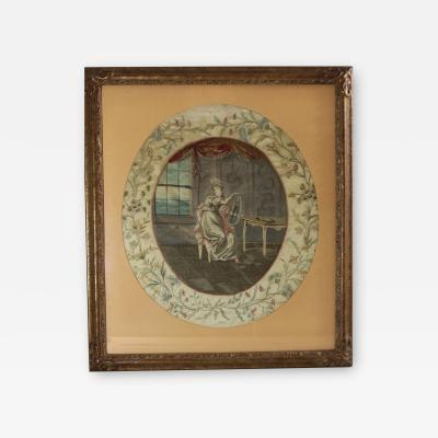 Antique Georgian Silkwork Embroidery Girl with Lyre
