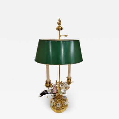 Antique Gilt Bronze Enamel Bouillotte Lamp