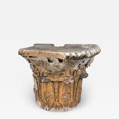 Antique Giltwood Neoclassical Column Capital