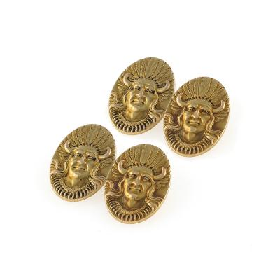 Antique Gold American Indian Chief Cuff Links