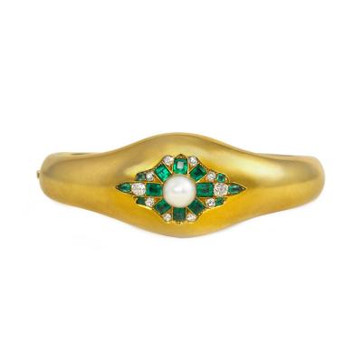 Antique Gold Bangle Bracelet with Emerald Diamond and Pearl Cluster