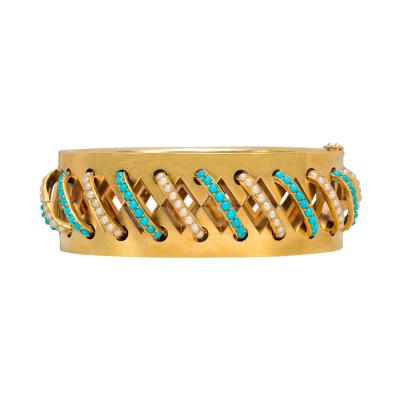 Antique Gold Cutout Bracelet with Diagonal Turquoise and Pearl Bands