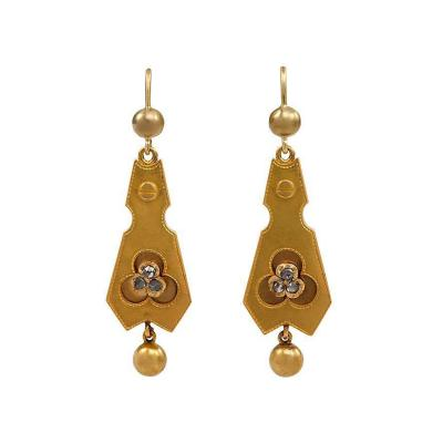 Antique Gold Earrings with Rose Diamond Accents