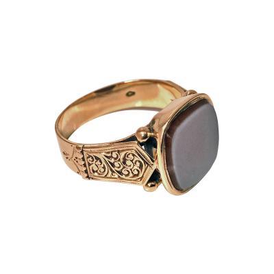 Antique Gold Gents Signet Ring Sardonyx Austria C 1890