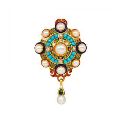 Antique Gold Holbeinesque Pendant Brooch with Pearls Turquoise and Diamonds