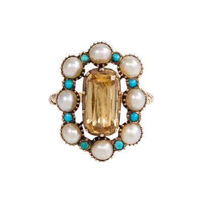 Antique Gold Pearl and Turquoise Ring with Topaz Center