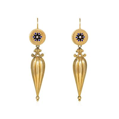Antique Gold Pendant Earrings with Enamel and Pearl Accents