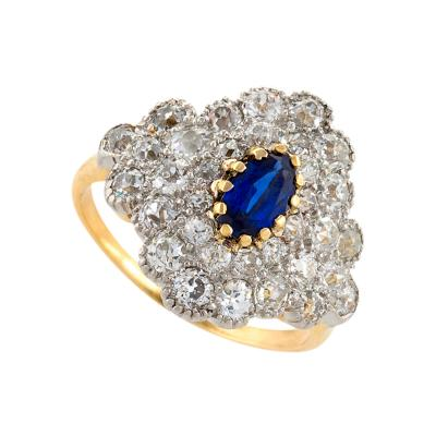 Antique Gold Platinum Ring with Diamond and Blue Sapphire