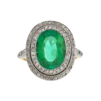 Antique Gold Ring with Emerald and Diamonds