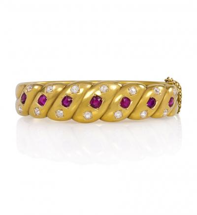 Antique Gold Ruby and Diamond Bangle