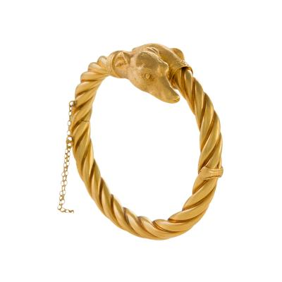 Antique Gold Whippet Dog Bracelet