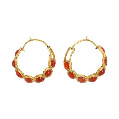 Antique Gold and Carnelian Hoop Earrings England