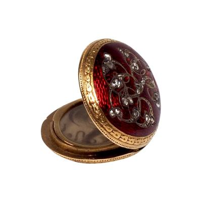 Antique Gold and Diamond Guilloche Enamel Locket