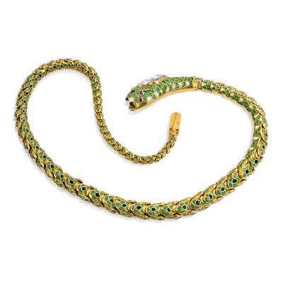 Antique Gold and Enamel Snake Necklace
