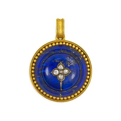 Antique Gold and Lapis Etruscan Revival Pendant with Locket Back