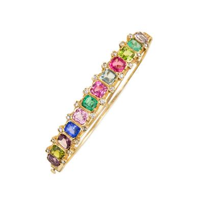 Antique Gold and Multigemstone Bangle Bracelet of Half Hoop Design