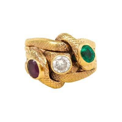 Antique Gold and Multigemstone Double Serpent Ring