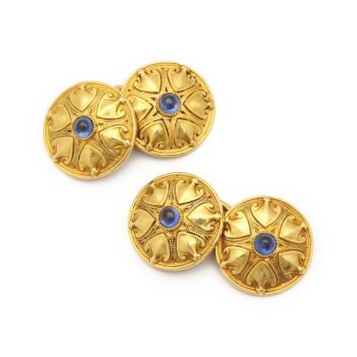 Antique Gold and Sapphire Double Cufflinks