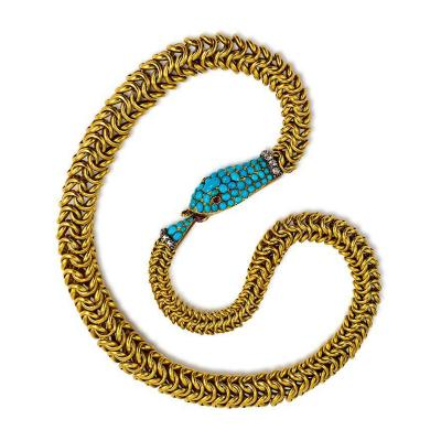 Antique Gold and Turquoise Ouroboros Snake Necklace