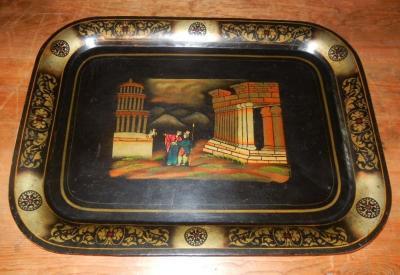Antique Grand Tour Souvenir Tole Tray Depicting Roman Ruins Custom Stand