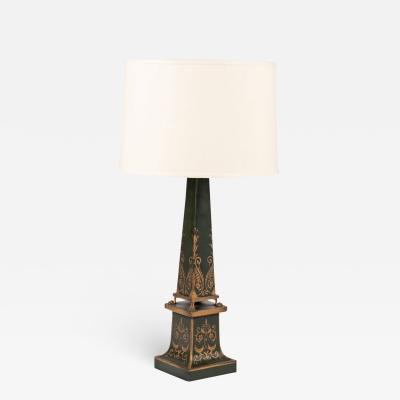 Antique Green Painted Tole Table Lamp