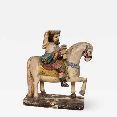Antique Hand Carved Wood Sculpture Royal King on Majestic White Horse 1800s