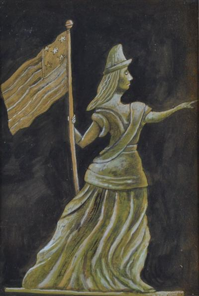 Antique Hand painted Water Color of Lady Liberty