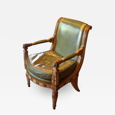 Antique Hollywood Regency Leather Armchair