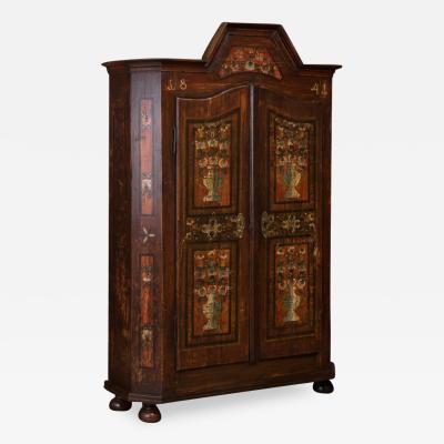 Antique Hungarian Armoire With Original Folk Art Paint