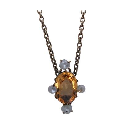 Antique Imperial Topaz and Pearl Pendant Necklace 15K English C 1890
