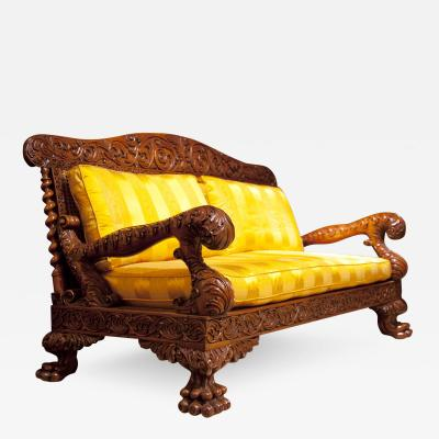Antique Indian Bombay Padouk Wood Exotic Superbly Carved Settee