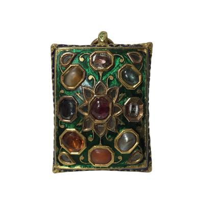 Antique Indian Gold Gem Set Enamel Pendant poss North Indian C 1800