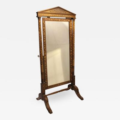 Antique Inlaid Wood Floor Mirror