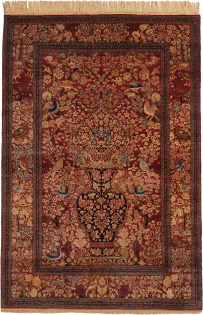 Antique Isfahan Burgundy Beige Wool Persian Rug