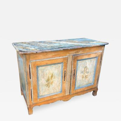 Antique Italian 18th C Tuscan Paint Decorated Sideboard Buffet W Trompe lOeil