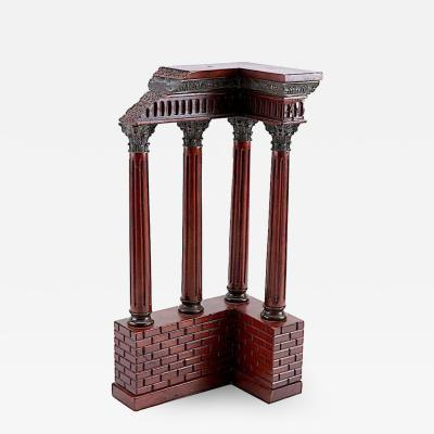 Antique Italian Grand Tour Mahogany Wood Bronze Roman Ruins Neoclassical Model