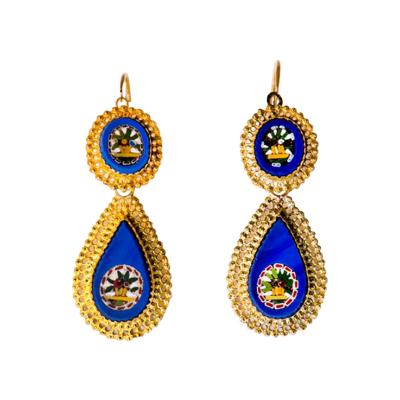 Antique Italian Micro Mosaic Earrings 18k Gold Italy