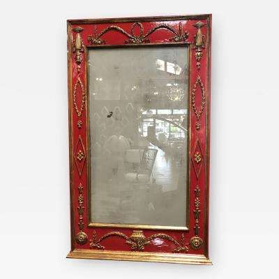 Antique Italian Red and Gold Leaf Neoclassical Style Wall Mirror 1930s