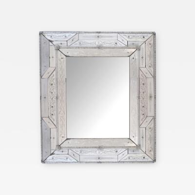 Antique Italian Reverse etched Rectangular Venetian Mirror
