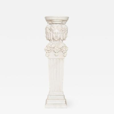 Antique Italian marble pedestal depicting Dionysus